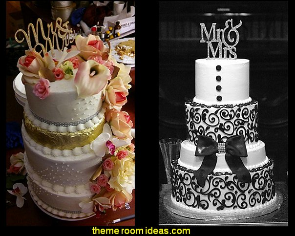 Mr & Mrs Monogram Silhouette Rhinestone Wedding Cake Topper Decoration with Crystals
