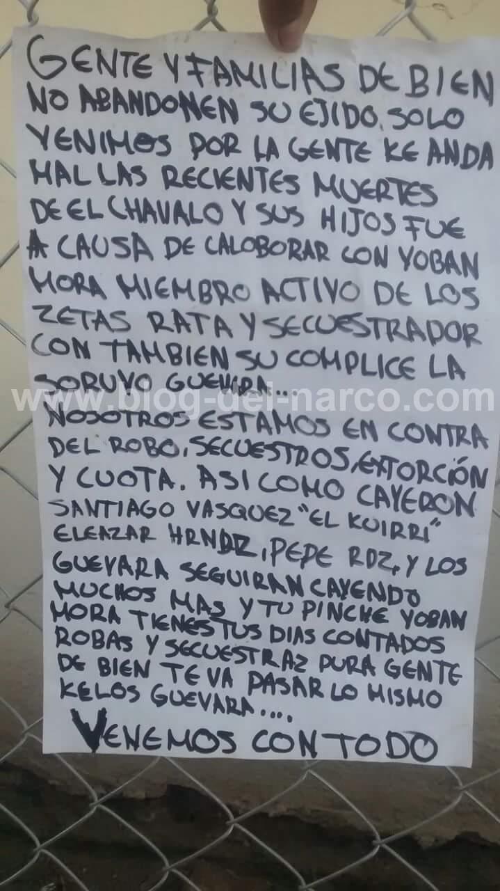 Grupo Armado llega a Ejido San Carlos Tamaulipas y mata a familias que colaboran con los zetas