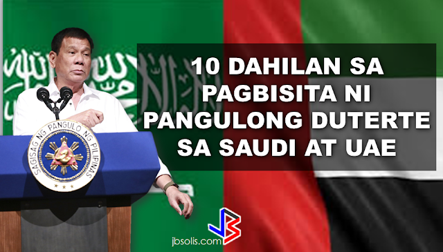 "President Rodrigo Duterte's compassion to the OFW sector is evident in his actions that's why OFWs around the globe love him. From the creation of OFW one-stop-shop to dissolution of tanim-bala and bukas-balikbayan box, he even told the OFWs to slap anyone who may attempt to extort money from them at the NAIA.   The President even told the OFWs that he wants that the OFW diaspora will end in this generation and come home to the Philippines for good. He never fail to address OFW concerns whenever he visit a country and with government programs for the OFWs, the sector that has been neglected by the previous administration has found their president, indeed.   President Duterte  will be visiting the United Arab Emirates and Saudi Arabia soon and here are the reasons why:  1. To express gratitude to the overseas Filipinos for their support. During the last presidential election, the OFWs and their families supported the then Davao Mayor Duterte with the largest OAV turnout in the last 10 years. In UAE alone, Duterte got 51,879 or 83.5 % of the total 62,103 actual votes cast. Duterte got 58% of the total votes in Jeddah, Saudi Arabia and 64% total votes in Riyadh. According to the data released by Commission on Elections (Comelec) Commissioner Rowena Guanzon, Duterte got the most number of votes with 313,346 total votes from OFWs abroad.   2.Listen to OFW concerns.  ""The trip is not something for other reasons. We are coming here to address specific problems. He could not himself fully understand why Filipinos would much rather want to remain here. He would like to make sure that he fully understands this,"" DFA Secretary Perfecto Yasay Jr. said.  ""He will not only go to Saudi or UAE and go back home. No, he will stay here for a few days, talk to the leaders and see what kinds of agreement can be signed,"" he added.  The OFWS are close to the heart of the President  because he understand them, like a father knows and understand his children.     3. For bilateral agreements that will benefit the OFWs.   According to Sec. Yasay,senior Philippine officials ""are now engaging our counterparts in these countries for the purpose of entering into agreements to strengthen our bilateral agreements"" prior to President Duterte's trip.  4. To formulate policies for the benefit of our modern heroes--the OFWs.    Among President Duterte's flagship programs for OFWs are the creation of a separate department for OFWs, the creation of an OFW bank and the abolition of the Overseas Employment Certificate (OEC).  The Middle East-specific policies will be implemented based on the president's assessment on his visit to the region.   5. To sustain Philippines' economic growth by forging trade ties with the Middle east counterparts and generate jobs back home. ""It is the hope of President Duterte that before his six year term is over, those who apply for jobs abroad will simply be doing so on the basis of choice rather than forced to do so,"" Yasay said.  6. To address the largest OFW community in Saudi Arabia. Currently, there are 872,000 OFWs in Saudi and half of this population is in Riyadh. The other half is spread across the eastern and western regions.  7. Biggest OFW remittances next to USA is coming from Saudi, Arabia.  Without a doubt, OFW remittances make the Philippine economy afloat. The OFWs send remittances to their family back home  which their family are spending in malls, restaurants, and others which keeps the economy alive.  8. Saudi Arabia is the biggest potential trade partner from Arab region. In terms of trade, Saudi Arabia was among the top 10 partners of the Philippines in 2012. One of the key agendas on Duterte's visit is to initiate talks with Saudi for bilateral collaborations in a number of sectors like agriculture, travel and tourism, culture, labour, trade and investment.   9.The largest number of OFWs in distress are in the Middle East particularly in Saudi Arabia.   Thousands of  distressed OFW are in Saudi Arabia, some of them are already been repatriated through the effort of the Duterte Administration and has been given assistance by OWWA and DOLE and through the programs of other government agencies like TESDA.  10. Saudi arabia and the UAE was last visited by the Philippine Pres on 2009. The last visit made by a Philippine President  to Saudi Arabia  was during  former Pres. Gloria Macapagal Arroyo's visit in 2009. The president who succeeded her never visited the middle east in his entire term.  President Rodrigo Duterte is set to visit the Middle East on February to talk and listen to the OFWs personally and to give hope to them that he will fix the country, generate more jobs and business opportunities, and make it peaceful for them to come home for good."