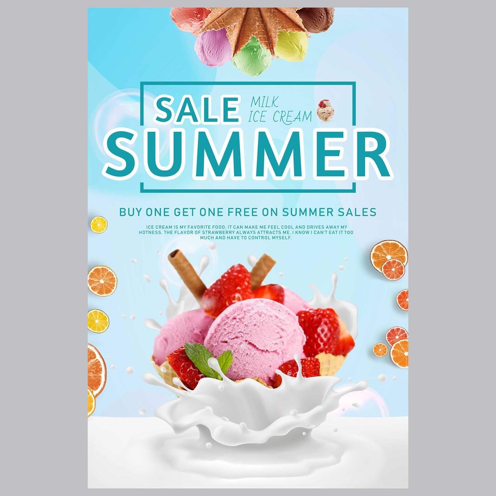milk ice cream summer promotion poster