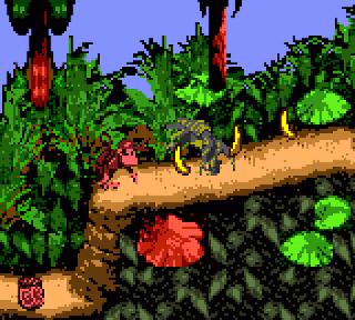Didi Kong pasando uno de los niveles del juego para Game Boy Color