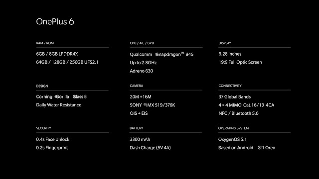 oneplus 6 smartphone specifications