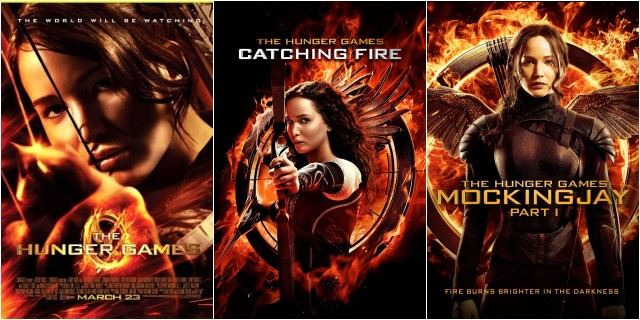 Hunger Games, Catching Fire, and Mockingjay Part 1