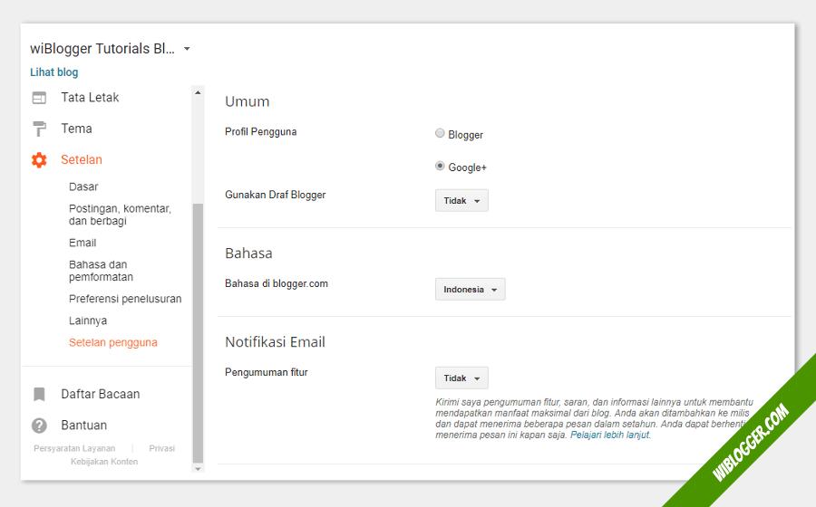 cara mengatur bahasa di dashboard blogger terbaru