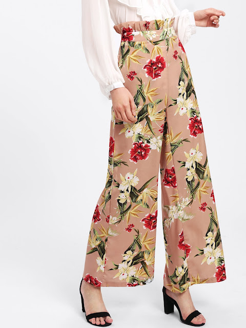 Ruffle Floral High Waisted Wide Leg Pants