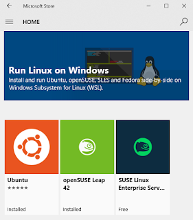 Screenshot: Linux distributions in the the Windows Store
