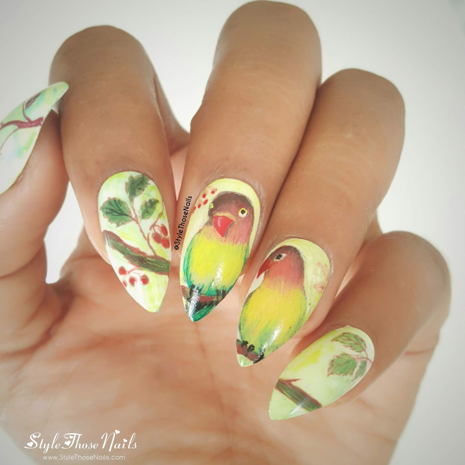 Love Birds Nail Art: Style Those Nails: Love Birds Nailart