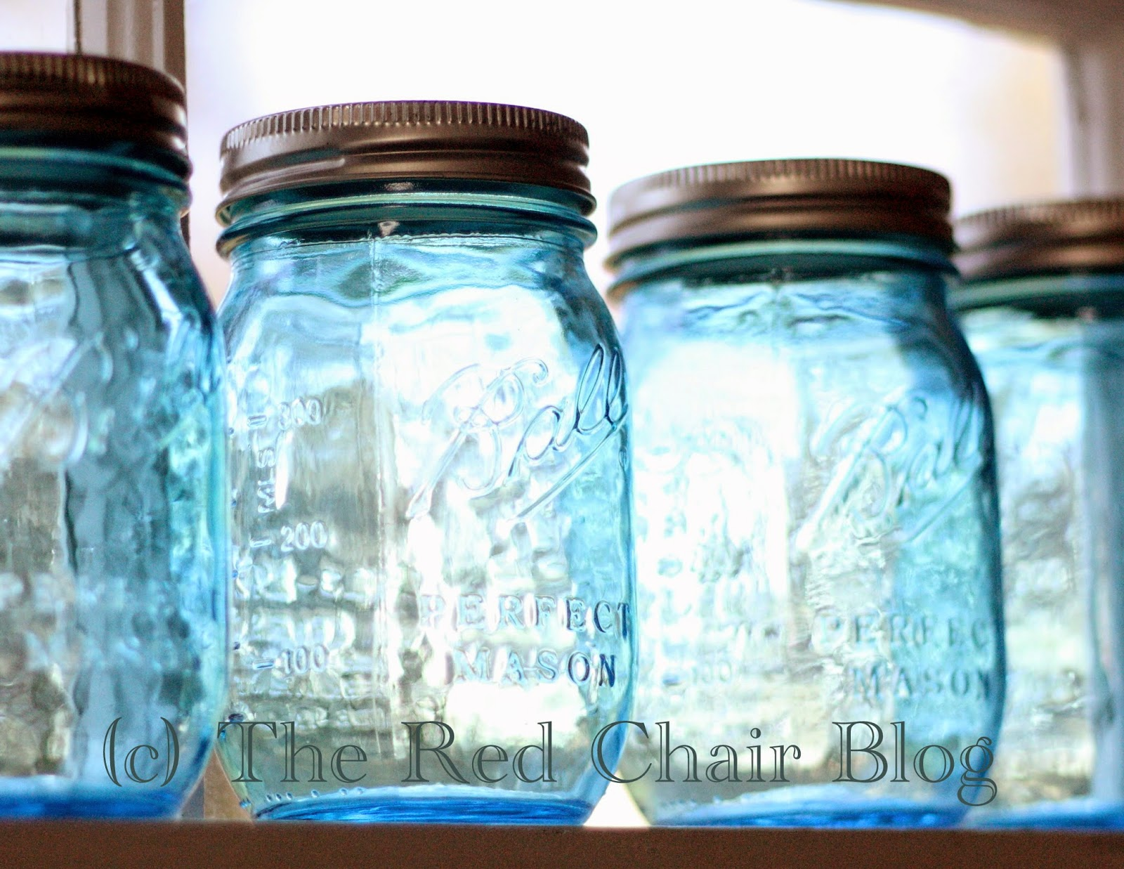 Blue ball jars at The Red Chair Blog