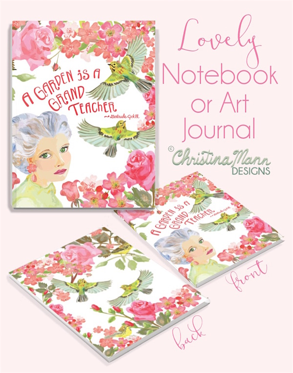 Rose's romantic rose garden with songbirds sketchbook journal by Christina Mann Designs