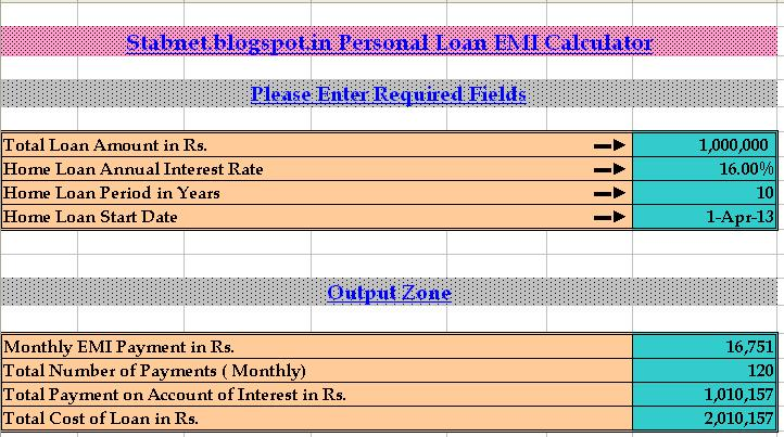 loan calculator personal emi excel required documents india salaried builder person
