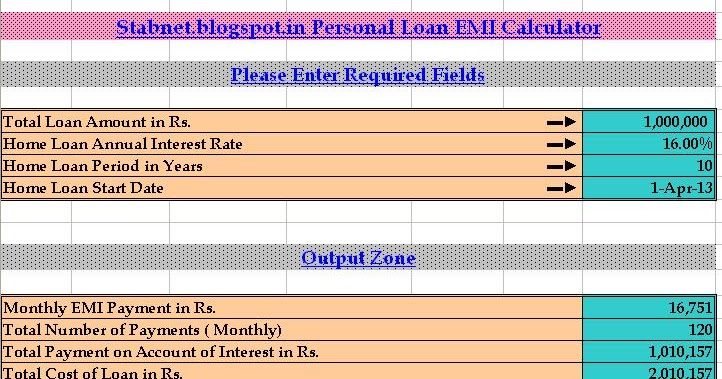 Every Bit of Life: Personal Loan EMI Calculator Excel