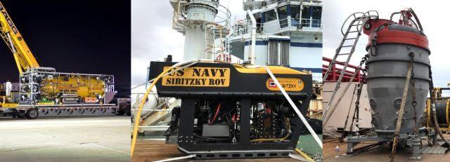 """SRDRS, ROV """"Sibitzky"""" y campana, parte del material desplegado por el URC. Imagen: US Navy"""
