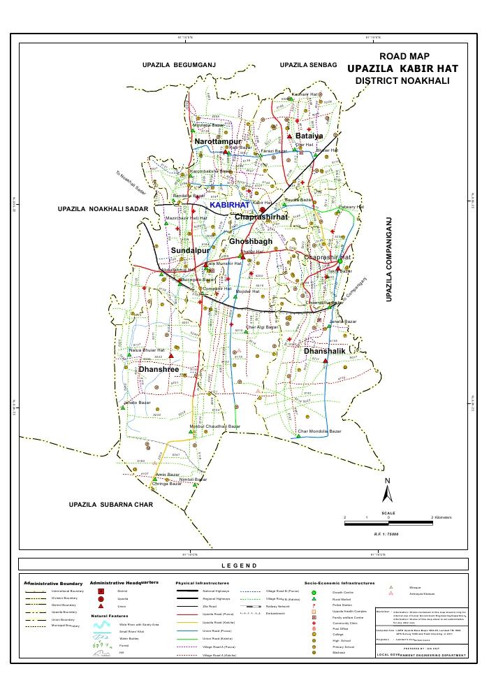 Kabirhat Upazila Road Map Noakhali District Bangladesh