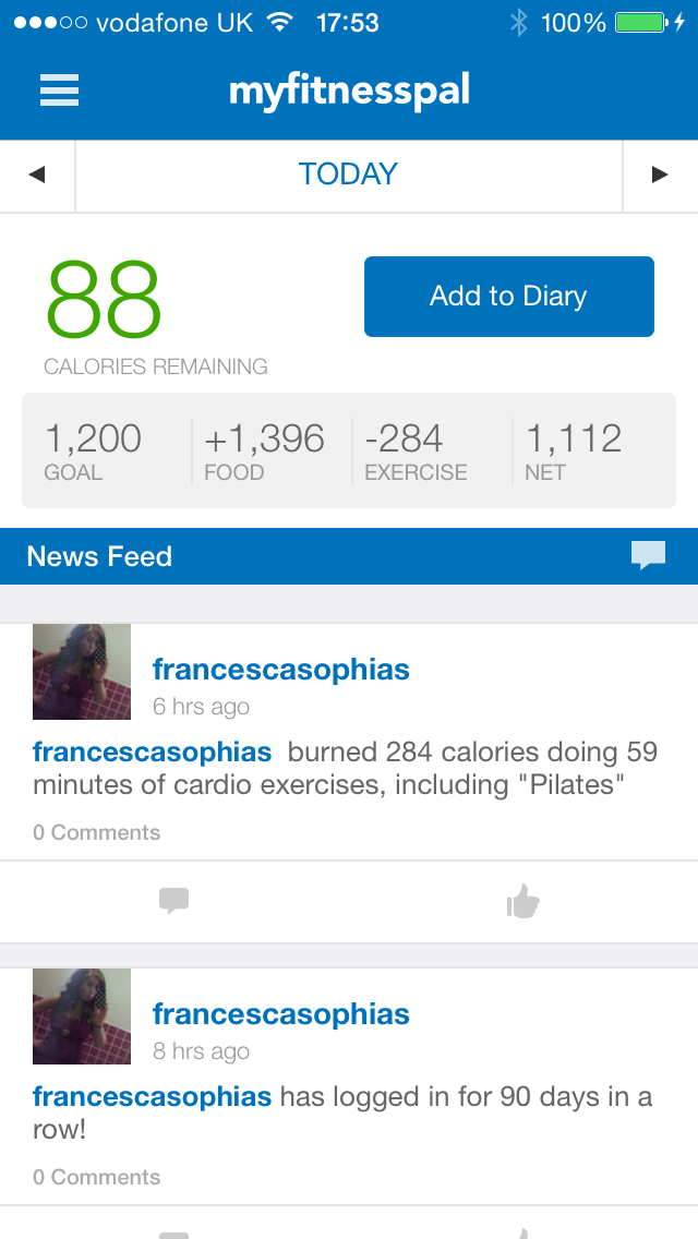 screenshot of myfitnesspal mobile app on francescasophia.co.uk