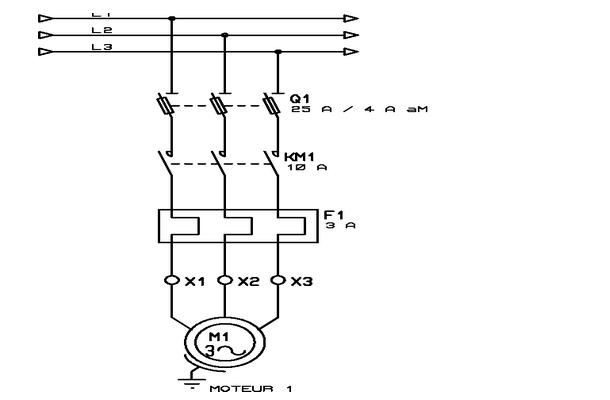 démarrage direct d'un moteur triphasé ~ schema electrique