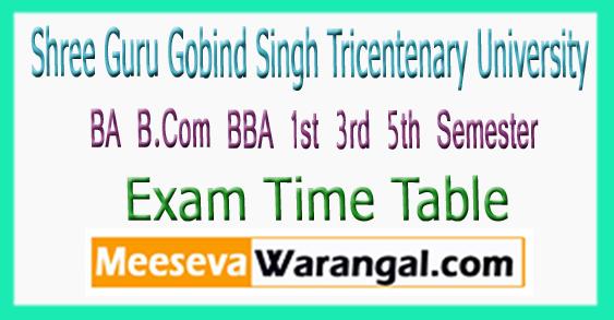 SGT University BA B.Com BBA 1st 3rd 5th Semester Exam Time Table 2017