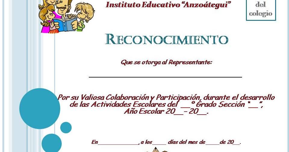 Planeta Escolar Diplomas y Reconocimientos a padres y familia