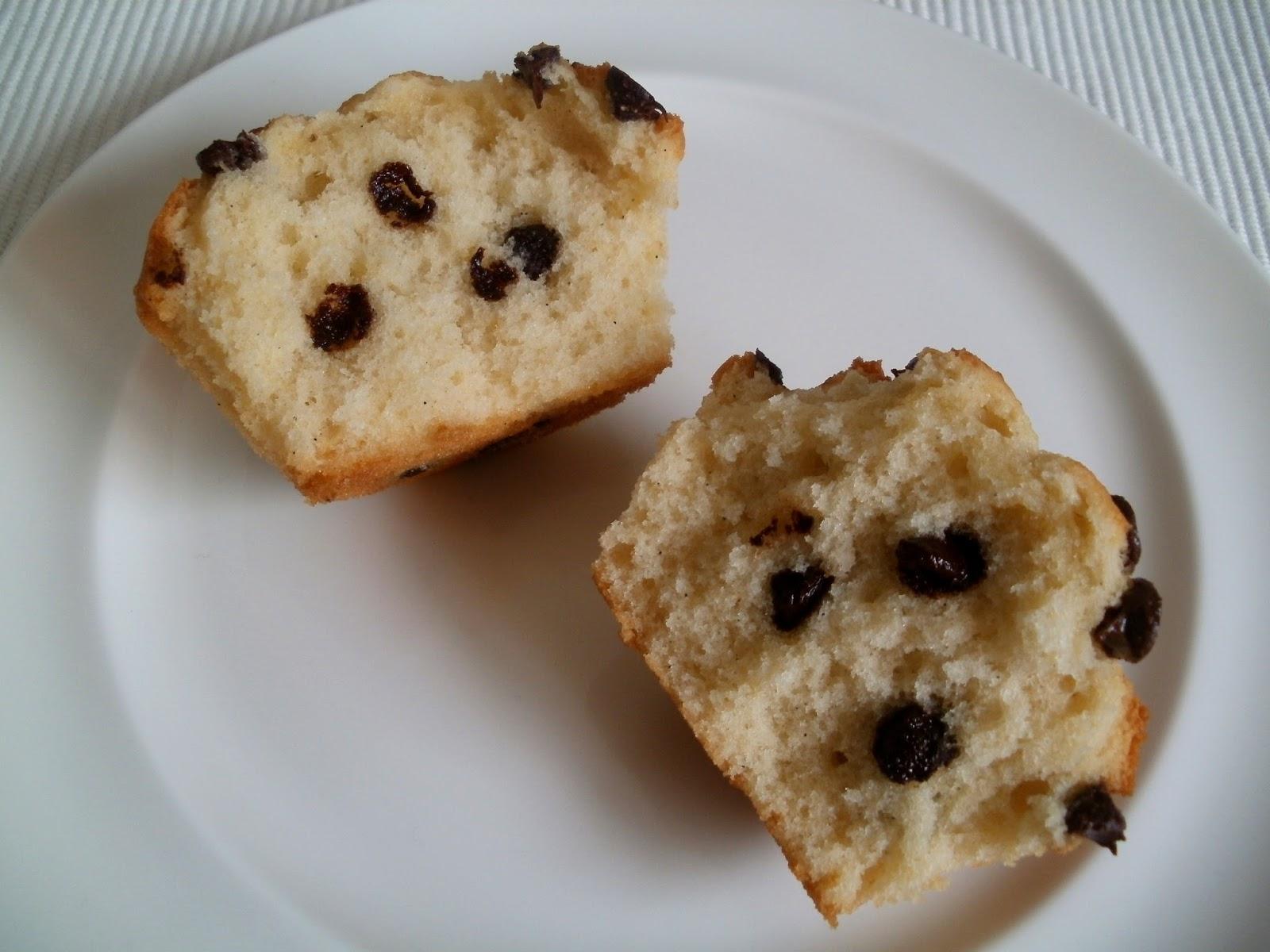 Magdalenas de vainilla con chips de chocolate