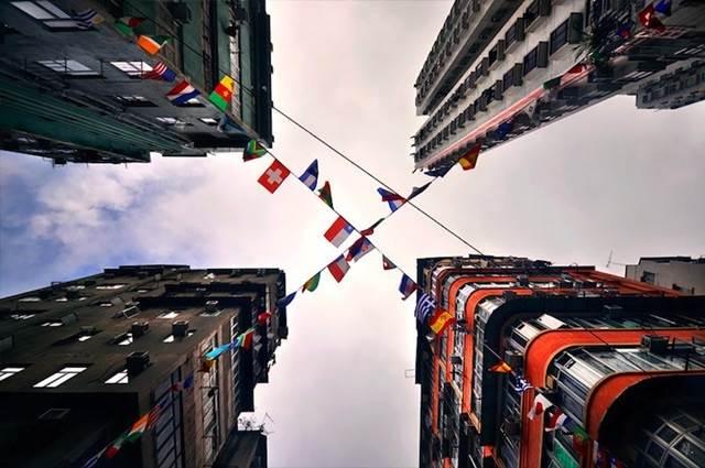 hong kong skyscrapers perspective