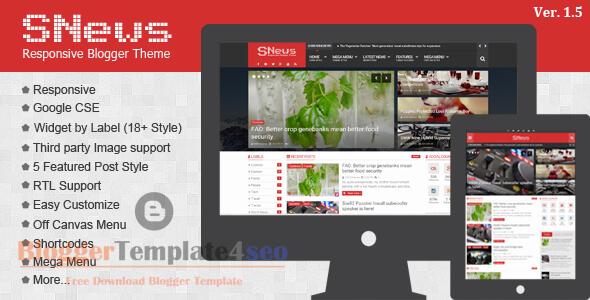 Snews Premium Magazine Responsive Blogger Theme