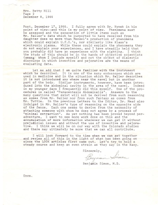 Letter To Betty Hill From Dr Benjamin Simon (pg 2)  12-8-1966