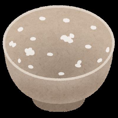 ご飯粒のついたお茶碗のイラスト