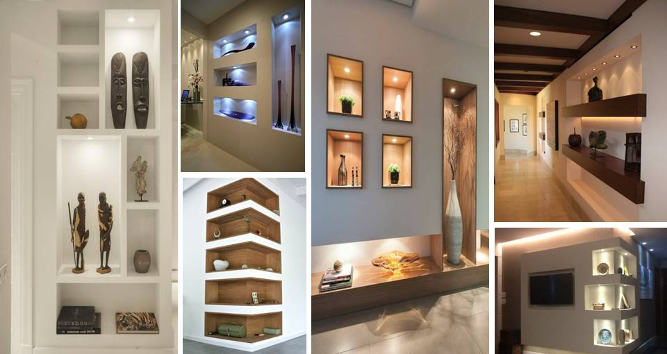 Amazing Gypsum Board Wall Shelves Designs Decor Units