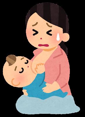 授乳時の痛みのイラスト