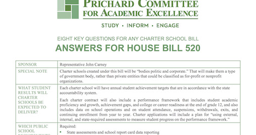Eight Charter Questions: Rep. Carney's HB 520
