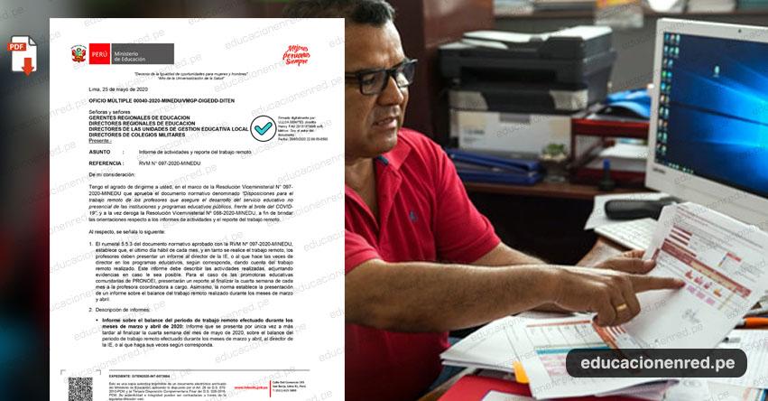 MINEDU: Descargar Modelo para el Informe del Trabajo Remoto y aspectos importantes que deben incluir (.PDF)