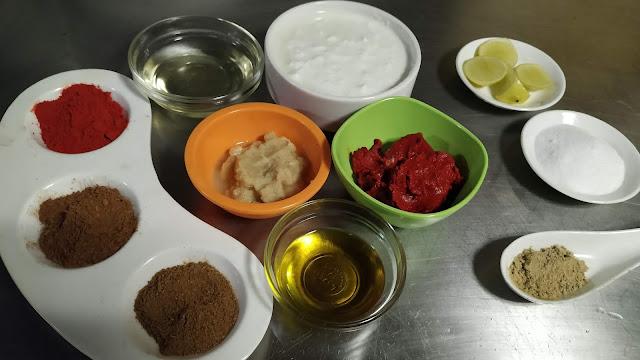 Red Chilly powder salt Cumin powder Garam masala Chat masala Kashmiri chilly paste, yogurt ginger garlic paste oil lemon juice food recipe