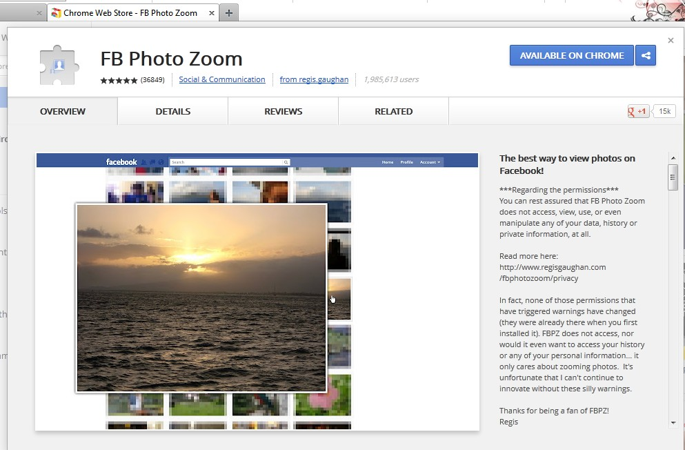 Second step to add FB Photo Zoom