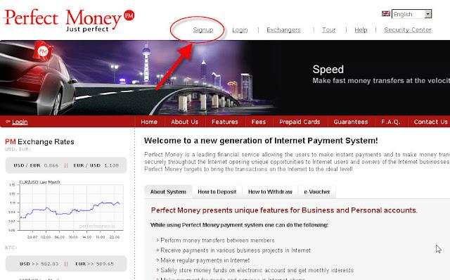 hướng dẫn đăng ký perfect money bước 1