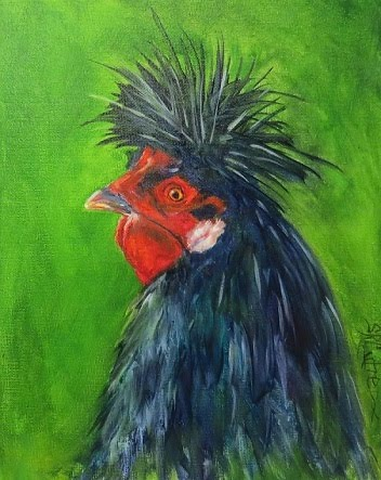 Spike, Rooster, original oil painting