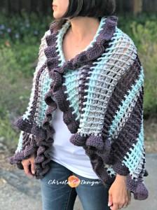 crochet ruffle edged wrap