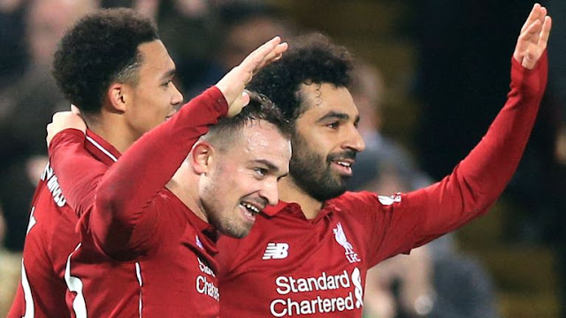 Xherdan Shaqiri and Mohamed Salah Liverpool 4 - 0 Newcastle United