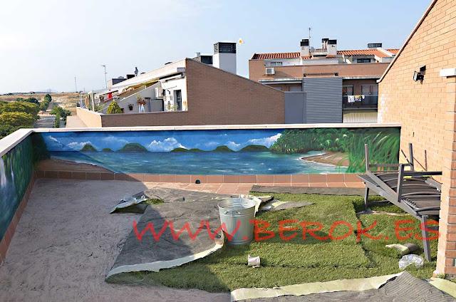 Pintura mural en terraza