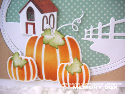 fall country house card detail pumpkins