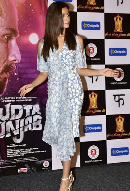 Alia Bhatt in Floral Print Outfit Dress During the Launch of 'Ikk Kudi' Song from Movie 'Udta Punjab'