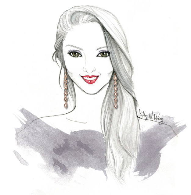 Pencil illustration of Payal Shah of L'Dezen Jewellery wearing long flowing hair and sliced diamond earrings