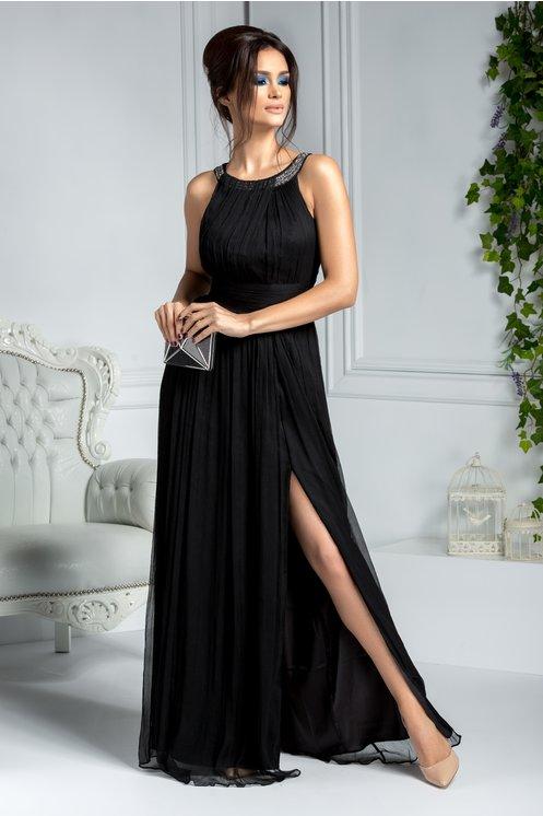 Rochie eleganta lunga de seara neagra din matase naturala