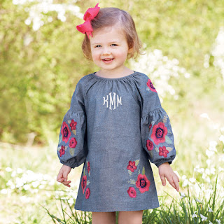 girl's personalized floral bubble sleeve dress