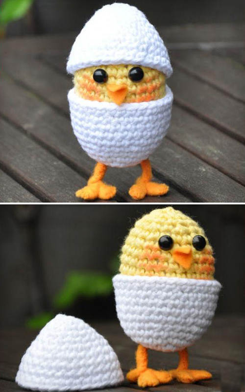 Amigurumi Baby Chick in Egg on legs - Free Pattern