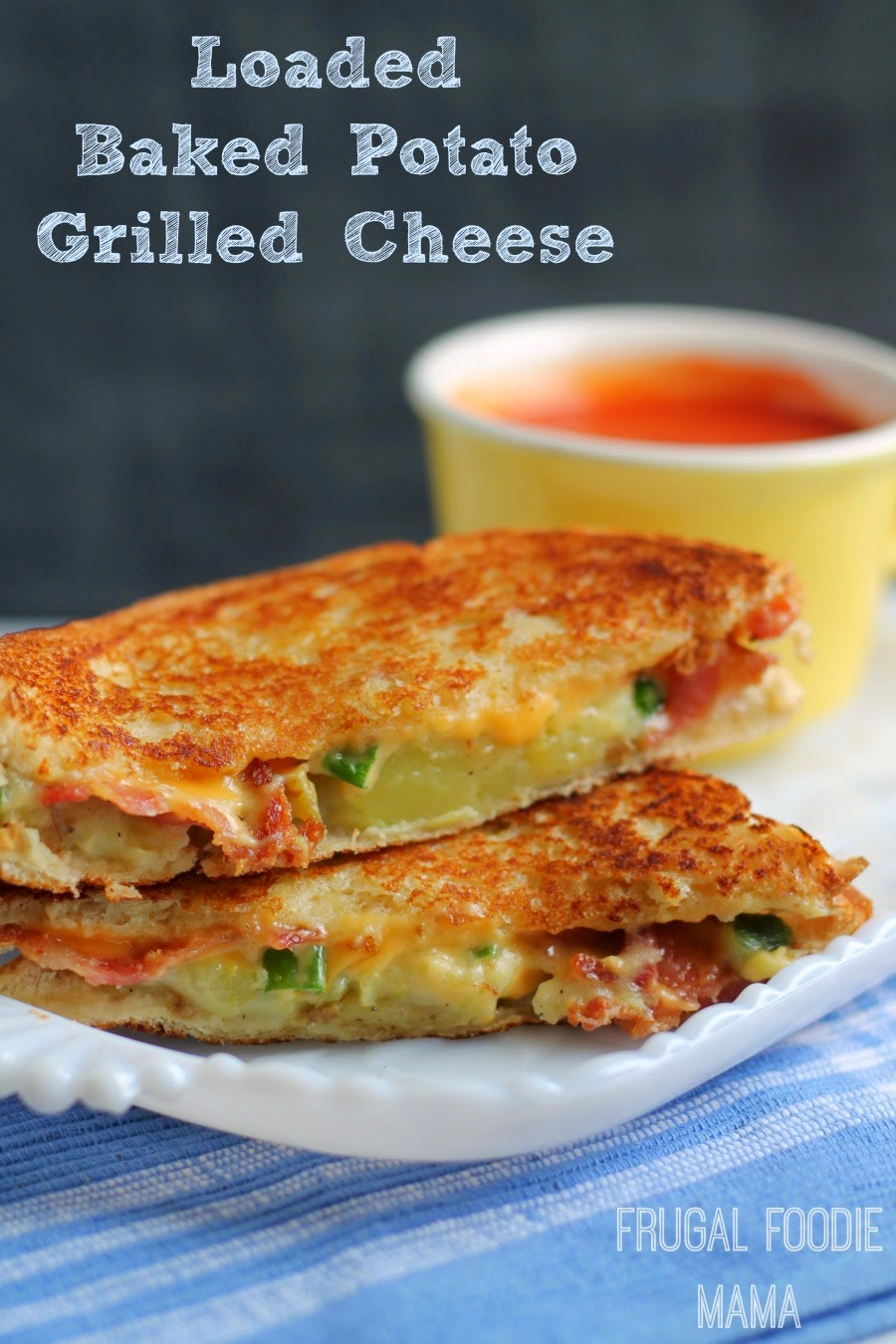Loaded Baked Potato Grilled Cheese- two of your favorite comfort foods meet in this in this wonderfully cheesy sandwich #ShareYourCheesy #ad