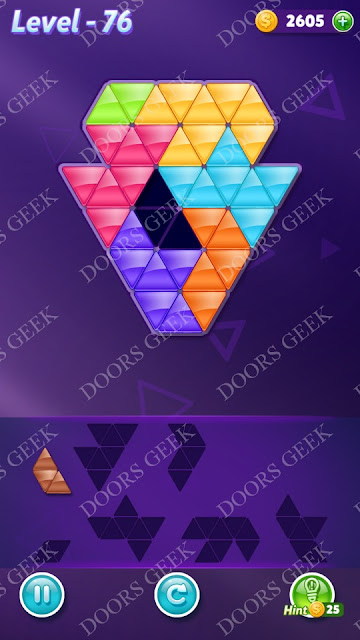 Block! Triangle Puzzle Advanced Level 76 Solution, Cheats, Walkthrough for Android, iPhone, iPad and iPod