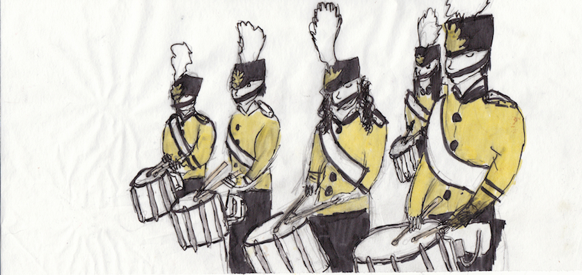 There Were Trumpets Dancers Drummers Of Course Flutes And Many More Instruments Too Here Is My Drawing A Drum Line Group