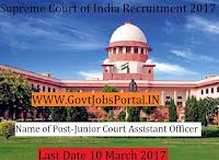 Supreme Court of India Recruitment 2017– 57 Junior Court Assistant
