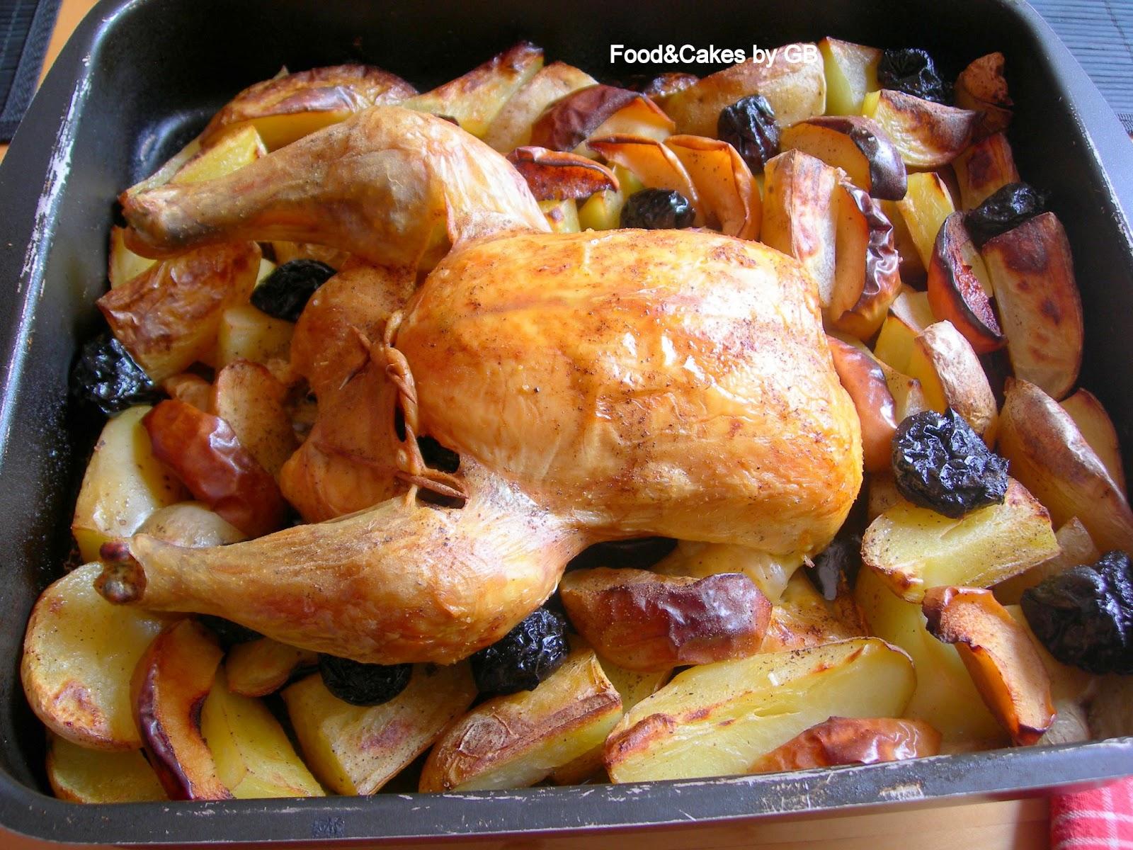 Food cakes pollo al horno con patatas manzanas y ciruelas - Pollo al horno con limon y patatas ...