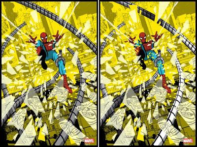"""Spider-Man vs Doctor Octopus"" Marvel Comics Screen Print by Raid71 x Grey Matter Art - Regular & Foil Variant Editions"