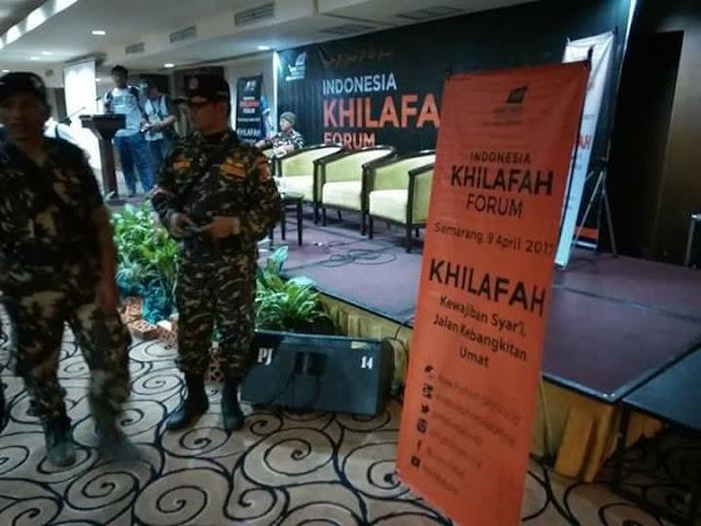 Kegiatan Seminar Khilafah HTI di Hotel Gracia Semarang Dihentikan oleh Banser NU